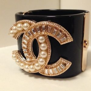 CHANEL Pearl & Crystal Monogrammed Cuff Bracelet